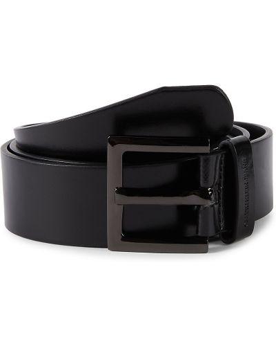 Черный кожаный ремень с пряжкой Calvin Klein