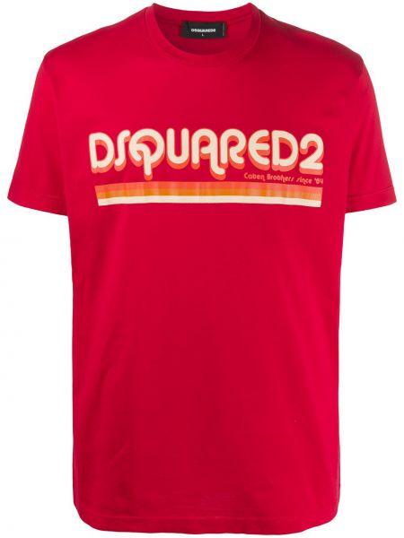 Koszula krótkie z krótkim rękawem prosto z nadrukiem Dsquared2