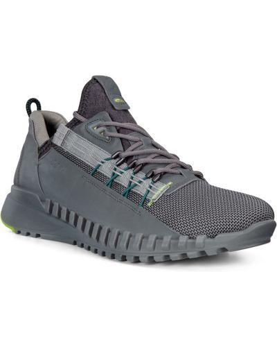 Серые кожаные кроссовки на шнурках Ecco