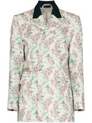 Прямой белый удлиненный пиджак из вискозы Charles Jeffrey Loverboy