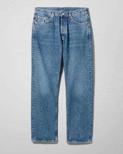 Синие джинсовые прямые джинсы Weekday