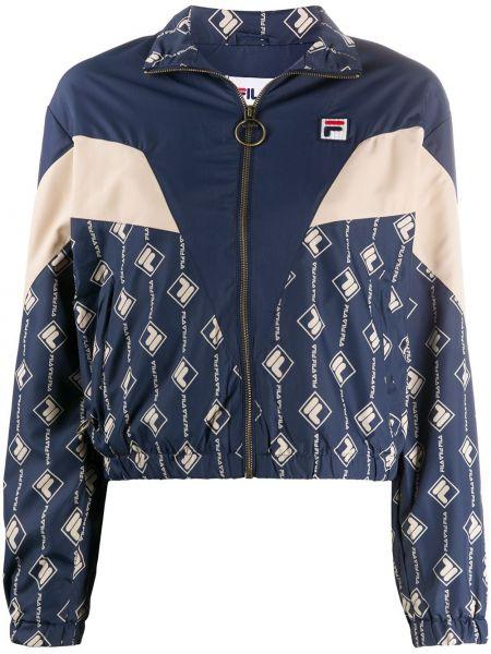 Синяя спортивная куртка на молнии со вставками с воротником Fila