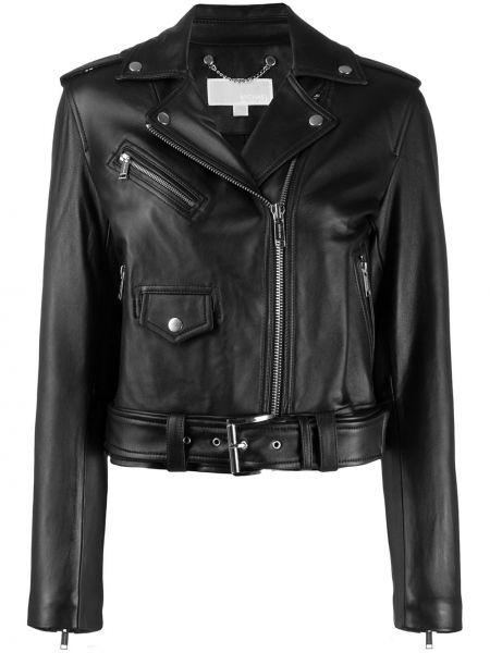 Черная кожаная длинная куртка байкерская Michael Michael Kors