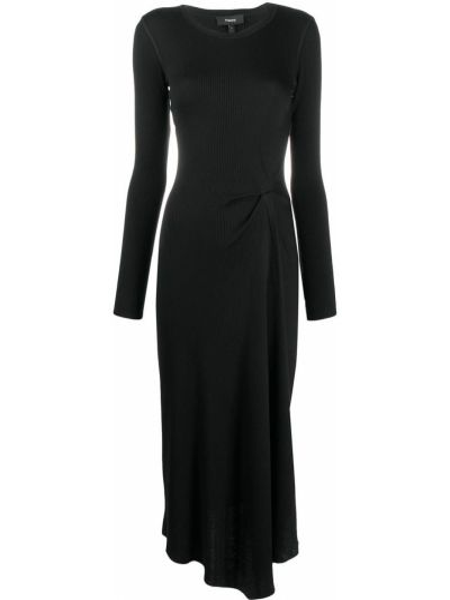 Черное акриловое асимметричное платье миди с длинными рукавами Theory