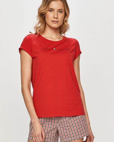 Czerwona piżama bawełniana krótki rękaw Tommy Hilfiger
