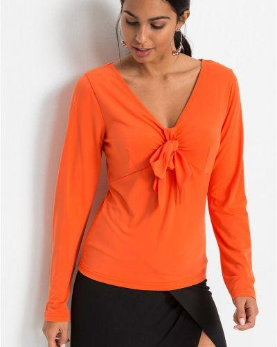 Оранжевая блузка с бантом с V-образным вырезом Bonprix