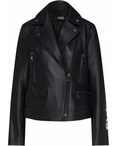 Кожаная куртка черная байкерская Karl Lagerfeld