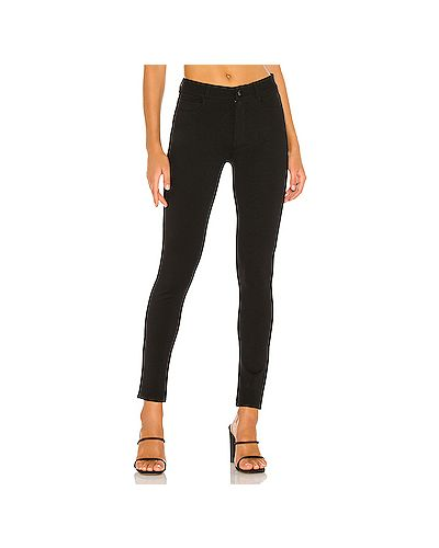 Нейлоновые черные джинсы-скинни эластичные на молнии Paige