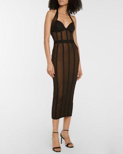 Czarna sukienka midi z wiskozy Balmain