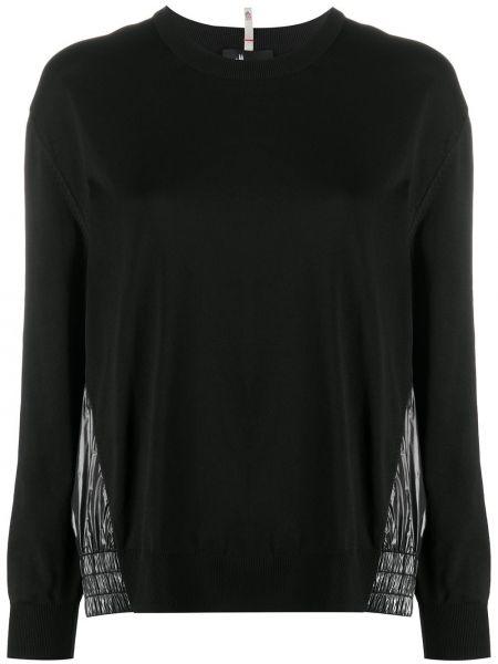 Prążkowana czarna bluza z długimi rękawami Moncler Grenoble