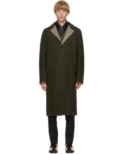 Wełniany długi płaszcz z kołnierzem z kieszeniami z klapami Maison Margiela
