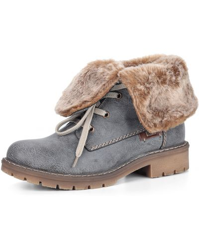 Серые кожаные ботинки на шнуровке Rieker