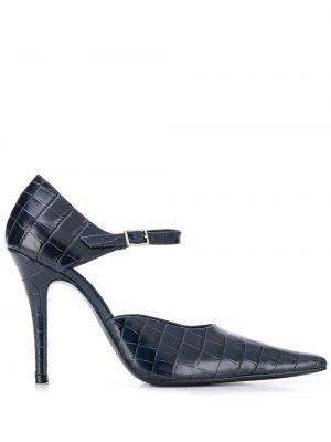 Синие туфли-лодочки с квадратным носком с пряжкой из крокодила Dorateymur