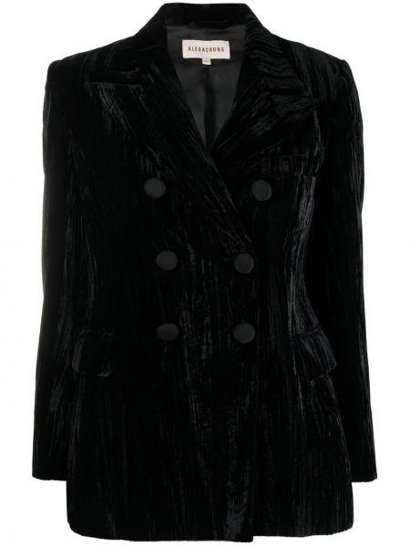 Бархатный черный удлиненный пиджак двубортный Alexa Chung