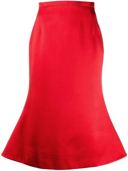 Расклешенная с завышенной талией юбка миди в рубчик на молнии Christopher Kane