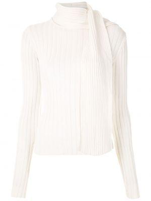 Белая блузка с длинным рукавом с вырезом узкого кроя из вискозы Gloria Coelho