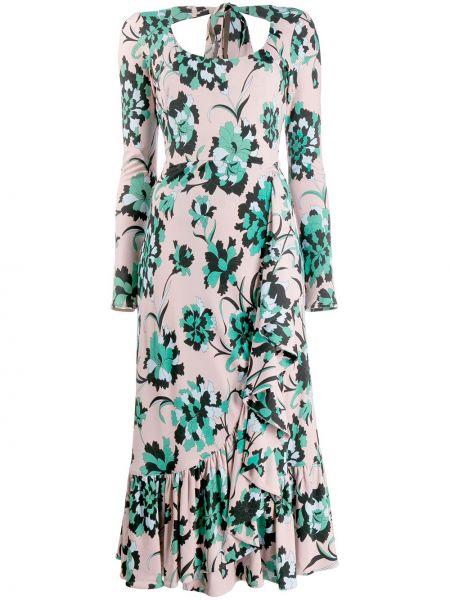 Приталенное розовое платье с вырезом из вискозы La Doublej