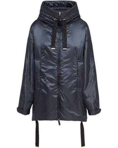 Синее пальто с капюшоном с завязками Max Mara