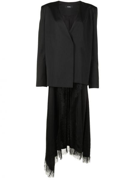 Шерстяной черный удлиненный пиджак с запахом Goen.j