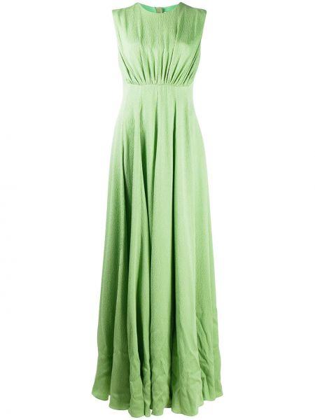 Шелковое вечернее платье с оборками без рукавов круглое Emilia Wickstead