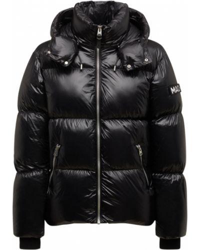 Кожаная куртка с капюшоном - черная Mackage
