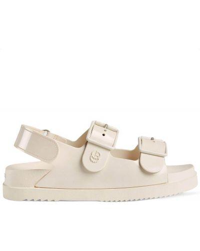 Sandały peep toe - białe Gucci