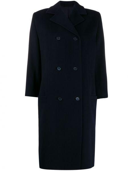 Синее шерстяное пальто на пуговицах с лацканами Versace Pre-owned