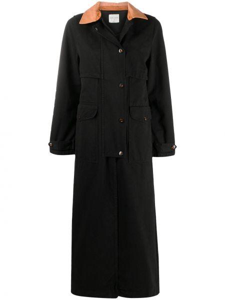 Черный тренчкот с карманами на пуговицах Forte Forte