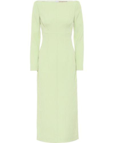 Хлопковое ватное зеленое платье миди Emilia Wickstead