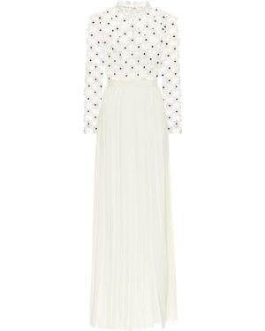 Кружевное белое гипюровое плиссированное вечернее платье Self-portrait