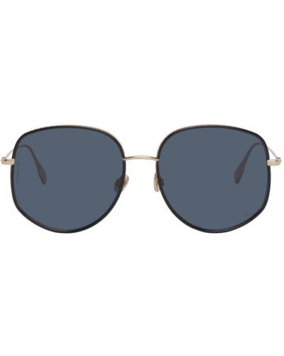 Кожаные черные солнцезащитные очки круглые Dior
