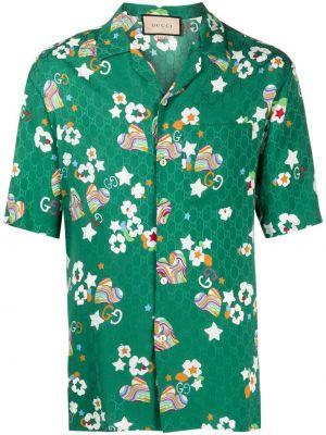 Klasyczna zielona klasyczna koszula krótki rękaw Gucci