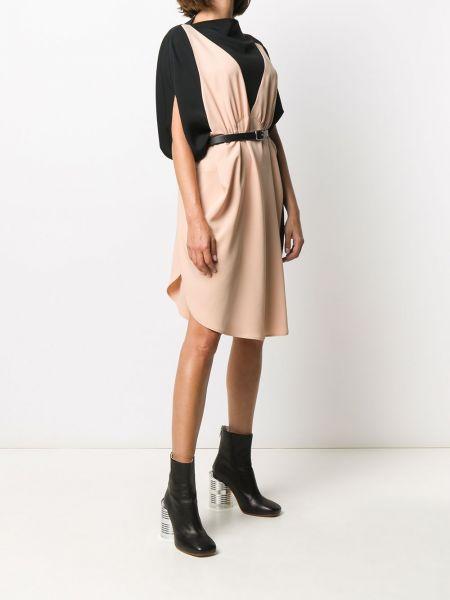 Платье с поясом розовое персиковое Mm6 Maison Margiela