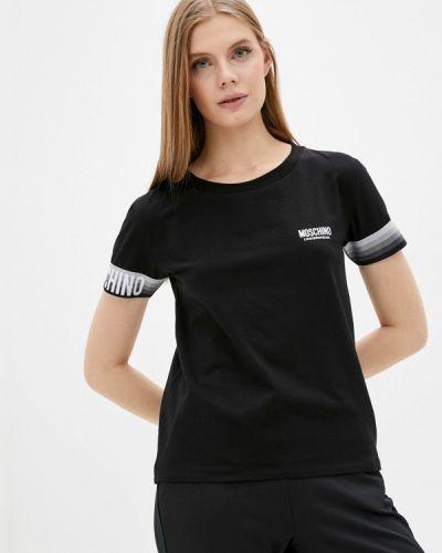 Футболка с короткими рукавами - черная Moschino Underwear