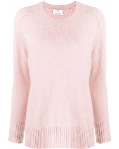 Кашемировый розовый джемпер в рубчик с круглым вырезом Allude