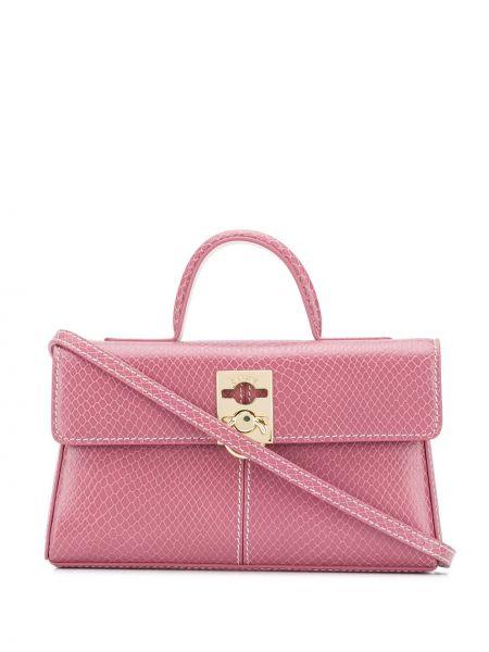 Różowa torba na ramię skórzana Cafuné