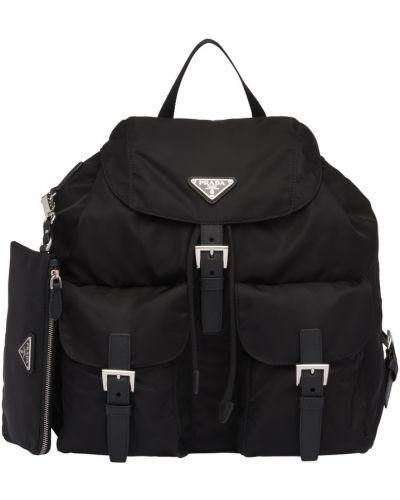 Черный кожаный рюкзак Prada