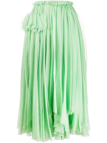 Зеленая расклешенная юбка миди с поясом Rochas