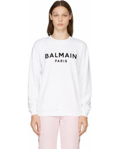 Белый свитшот длинный Balmain