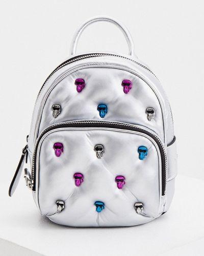 Серебряный городской кожаный рюкзак Karl Lagerfeld