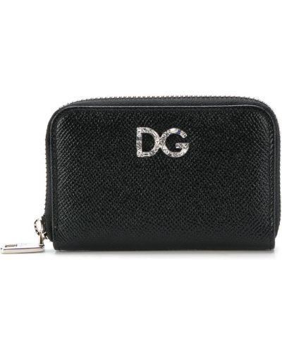 Кожаный кошелек на молнии черный Dolce & Gabbana