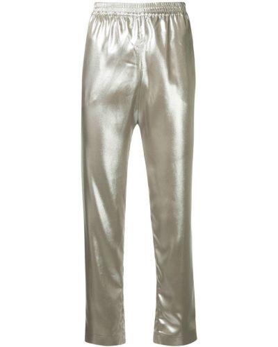 Серебряные плиссированные укороченные брюки с поясом Layeur