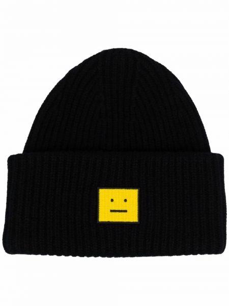 Czarna czapka prążkowana Acne Studios
