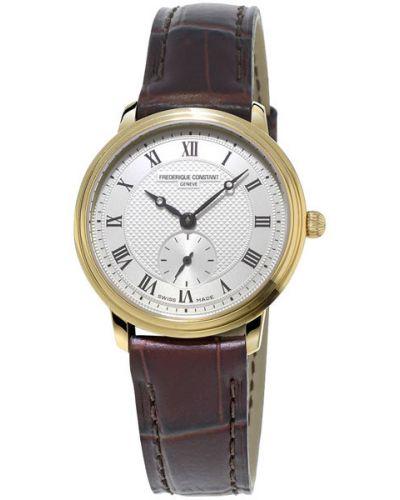 Водонепроницаемые часы на кожаном ремешке с позолотой Frederique Constant