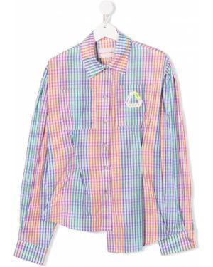 С рукавами асимметричная розовая блуза на пуговицах Natasha Zinko Kids