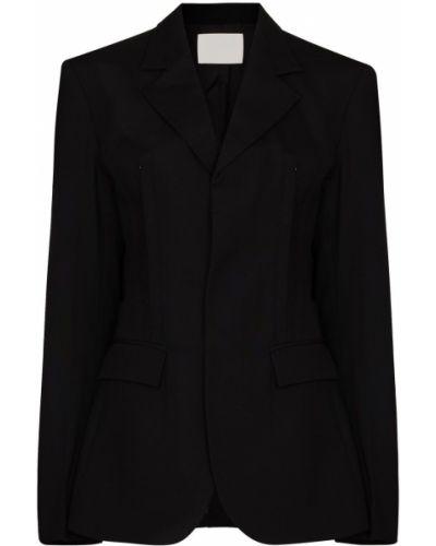 Шерстяной однобортный черный удлиненный пиджак Dion Lee