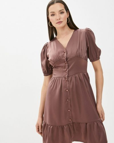 Коричневое платье а-силуэта Pinkkarrot