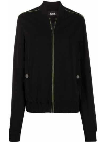 С рукавами черная куртка из вискозы Karl Lagerfeld