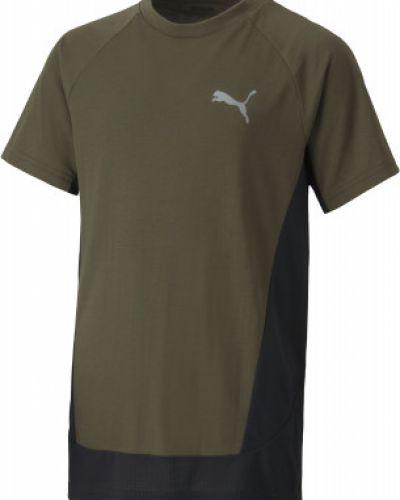 Прямая спортивная зеленая футболка из вискозы Puma