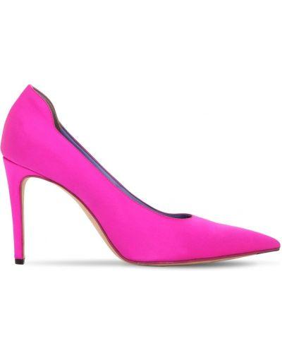 Satynowe czółenka - różowe Victoria Beckham